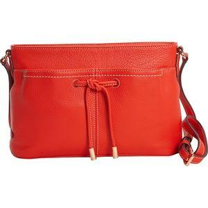 New COLE HAAN Red Orange Crossbody Leather Purse